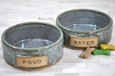 Pet Bowls, Pottery Pet Bowls, Dog Bowls, Cat Bowls, Food and Water Bowls, Small, Handmade Pottery, Wheel Thrown Pottery, Made to Order, Pet by ShawnaPiercePottery on Etsy https://www.etsy.com/listing/251745916/pet-bowls-pottery-pet-bowls-dog-bowls