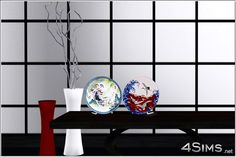 Set includes 6 groups with 2 asian decorative plates for Sims 3, chinese and japanese styles, placeble anywhere, new custom mesh, 2 recolorable zones for back and support, base game compatible.