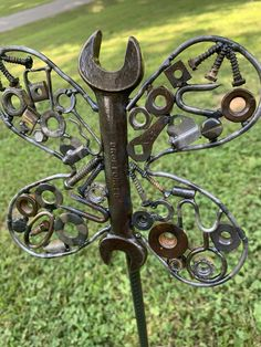 Made from recycled hardware welded together onto rebar.