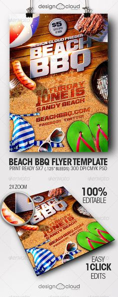 Beach #BBQ Flyer Template Download here: https://graphicriver.net/item/beach-bbq-flyer-template/7802341?ref=carlyalexa