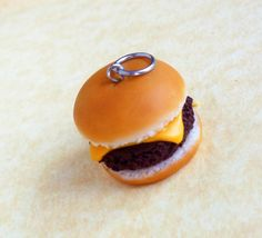 polymer clay cheeseburger charm by ScrumptiousDoodle on Etsy, $7.75