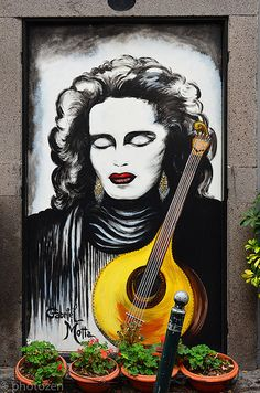 The most famous fado singer of Madeira (unfortunately already died), seen at the Funchal Old Town door. The whole old town is full of doors turned to be paintings. Very entertaining walk through the old town. Funchal, Street Art, Portuguese Culture, Painted Doors, More Pictures, Old Town, Old Things, Gallery, Windows