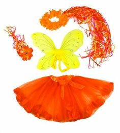 """Sunshine Fairy 4 Piece Flower Fairy Princess Costume Set. Yellow and Orange. by Lil Princess. Save 48 Off!. $14.95. 4 pieces, Wand tutu, wings, Halo. Fits girls approx ages 2-9. Wings Measure approx 14"""" by 13"""". Tutu has floating flower petals inside. Measures approx 12"""" long. Lots of Curly Ribbons cascade down back of halo. Four piece Orange and yellow Sunshine Fairy costume include Flower tutu with floating petals, medium kids fairy wings, Flower halo with cascading curling ribbon..."""
