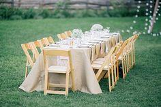 rustic reception tables - photo by Sarah Rose Burns Photography http://ruffledblog.com/colorado-wedding-under-the-super-moon