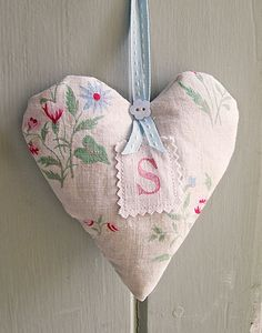 Lavender sachet hand-made from vintage fabrics, personalized with an initial.