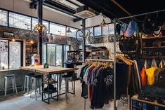 Factory Five Bike Shop - Shanghai - Linehouse Architecture - 3 - TheCoolist Bicycle Cafe, Bicycle Shop, Bike Store, Bicycle Rims, Visual Merchandising, Velo Shop, Shanghai, Tiny House Hotel, Factory Five