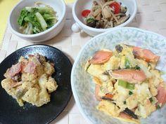 ☆鮭チャンプルー ☆さつまいもとベーコンのマスタードサラダ ☆山東菜ともやしのシークヮーサーひたし ☆きのこの中華風マリネ
