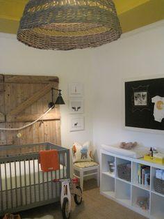 barn door headboard/white Ikea shelves/wicker light