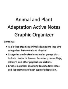 Contents:Table that organizes animal adaptations into two categories:  behavioral and physicalCategories are broken into smaller groups that include:  instincts, learned behaviors, camouflage, mimicry, and other physical adaptations.Graphic organizer allows students to take notes and list examples of each type of adaptation.