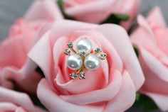 5 White Pearl Rhinestone Gold Embellishments - Flat Back Button - Wedding Decorations for Invitation Flower Cake Comb Bouquet Jewelry 240011