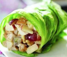 Chicken Apple Wraps Ingredients 1/2 cup chopped cooked chicken breast, 3 tablespoons chopped Fuji apple, 2 tablespoons chopped black or red grapes, 2 tablespoons Crunchy Peanut Butter, 1 tablespoon lite mayonnaise (or greek yogurt), 2 teaspoons honey Iceberg lettuce. PREPARATION: Chop chicken meat and fruit, mix in bowl. Mix in peanut butter, mayonnaise and honey. Spoon into open lettuce leaf, roll and serve.