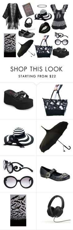 """Goth at the Beach 2.0"" by x-toxictears ❤ liked on Polyvore featuring Demonia, Iron Fist, Prada and Skullcandy"