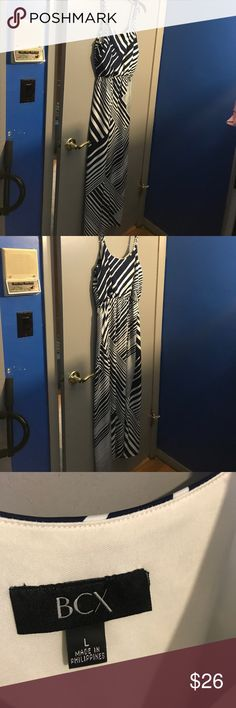Navy and white maxi dress.  Worn just a few times. BCX maxi dress. BCX Dresses Maxi