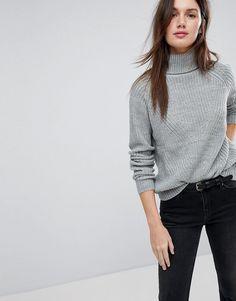 Gray High Neck Turtleneck Sweater