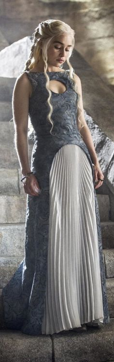 Game of Thrones style: Daenerys paired a soft white slip with a tough blue leather dress.