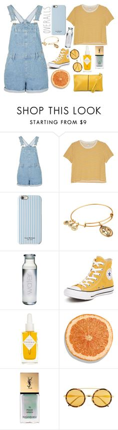 """Tricky Trend: Overalls"" by lovesammi98 ❤ liked on Polyvore featuring Monki, Isaac Mizrahi, Alex and Ani, Converse, Herbivore, Yves Saint Laurent and Wildfox"