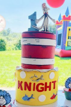 Don't miss this fun Dr. Seuss 1st birthday party! The birthday cake is amazing!! See more party ideas and share yours at CatchMyParty.com