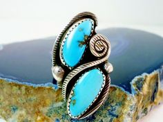 Men's Navajo Jimmy Victor Begay Sterling Turquoise Feather Ring Size 11 - Old Pawn Sterling Native American Signed JVB Turquoise Unisex Ring by GranvilleGallery on Etsy