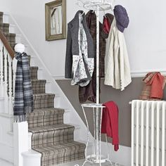 Looking for country hallway decorating ideas? Take a look at this tweed-inspired country hallway from Country Homes & Interiors for inspiration. For more hallways ideas, such as how to decorate with tweed and tartan, visit our hallway galleries Grey Tartan Carpet, Tartan Stair Carpet, Country Hallway, Grey Hallway, Dado Rail Hallway, Hallway Paint, Hall Carpet, Carpet Stairs, Hallway Designs