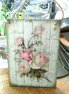 Decoupaged plaque using rose napkin, acrylic paint and aged with wax. //  ♡ THIS IS BEAUTIFUL!!!  ♥A