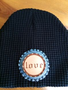 Waffle knit beanie with vintage denim and leather patch! To order email jaymax4@yahoo.com