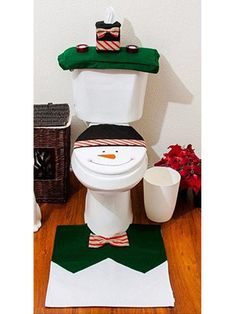 White Bowknot Snowman Pattern Toilet Seat Cover And Rug Set