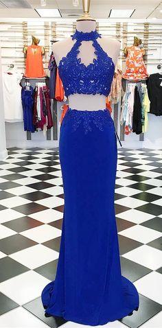two piece prom dress, 2018 prom dress, royal blue long prom dress, graduation dress, formal evening dress