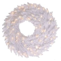 The gorgeous Vickerman White Fir Pre-lit Wreath makes a valuable addition to any holiday decor. The crisp round PVC wreath is pre-lit with clear mini. Pre Lit Wreath, Christmas Wreaths With Lights, Lighted Wreaths, Artificial Christmas Wreaths, Holiday Wreaths, Xmas Ornaments, White Led Lights, White Light, Modern Holiday Decor