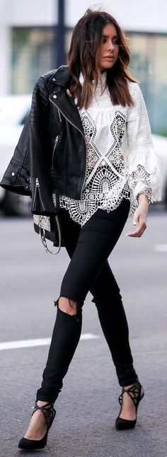#summer #chic #style #outfitideas | Black Leather + White Lace
