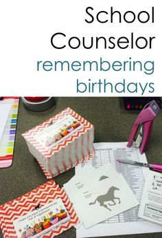 """Birthday cards for faculty and/or students.  4 designs with choice """"from the Counselor"""" (just one counselor) or """"from the CounselorS"""" (more than one Counselor)  Also includes coupons for teachers and students to attach to the card. (Jeans Day Coupon for faculty and Homework Pass for students)  Build teacher morale and build a positive school climate."""