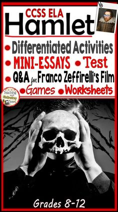 "Bring engaging lessons and higher-level thinking to your study of Hamlet.  In addition to a study guide on Franco Zeffirelli's movie (with Mel Gibson), 65 pages of resources include: 1. Q&A + Interviews  2. 12 Mini-Essays with Easy Scoring Guide 3. Literary Analysis Skill-Building Worksheets (RTI) 4. Discussion Cards & Rubric 5. ""The Dating Show"" A Lively Characterization Game with the Cast of Hamlet 6. Crossword Puzzle & No-Technology Jeopardy Test  7.  Multiple Choice Test"