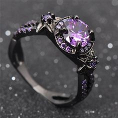 Amethyst engagement ring women wedding Emerald engagement ring Unique three stones Bridal Jewelry Alternative Birthstone Anniversary gift All our diamonds are natural and not clarity enhanced or treated in anyway. We only use conflict-free diamond Ring Set, Ring Verlobung, Fantasy Jewelry, Gothic Jewelry, Gothic Rings, Viking Jewelry, Ancient Jewelry, Cute Jewelry, Jewelry Accessories