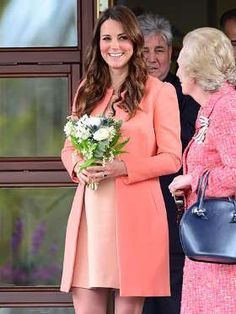 On her second wedding anniversary (April 29, 2013), Kate steps out in a peach Tara Jarmon coat over ... - James Whatling/Splash News Online