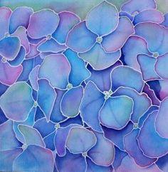 Silk Painting, Hydrangeas Start creating your own custom hand painted leather hand bag here. Fabric Painting, Fabric Art, Shibori, Batik Art, Blue Hydrangea, Hydrangeas, Silk Art, Alcohol Ink Art, How To Dye Fabric