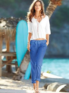 Relaxed Linen Pant (blue)