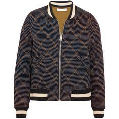 Étoile Isabel Marant Dabney reversible printed cotton bomber jacket ($585) ❤ liked on Polyvore featuring outerwear, jackets, black, cotton jacket, flight jacket, embroidered jacket, bomber jacket and reversible quilted jacket
