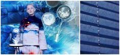 Foto: Moodboard Woonmodetrend Oceanography v.l.n.r. Installatie Wave voor Londen Design Festival '15 van Alex Rasmussen en Neal Feay, fotografie Alex Blair. Bank Hard&SoftSlim van Tuscany Viareggo en Kashmir Saphir voor Baxter. Outfit Undercurrent van Jilian Boustred, model Saveja Ellison – HMUA: Margo Regan, fotografie Byron Spencer. Bijzettafel Plug van Lanzavecchia en Wai voor Cappellini. Kunstobject en lamp Continuum van Kappes. Borden Waddenzee van Studio Maarten kolk en Guus Kusters…