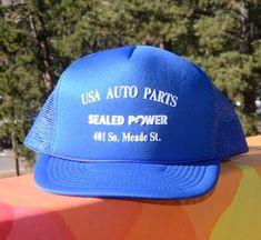 64982953f136cf vintage snapback 90s trucker hat SEALED POWER auto parts baseball cap mesh  blue