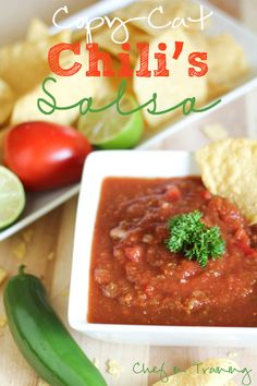 Chili's Salsa ~ 2 (14.5 oz) cans whole tomatoes drained 1 (4 oz.) can diced jalapenos, 1/4 cup onion,1 tsp. garlic salt,1 tsp. salt,1 tsp. cumin,1 tsp. sugar,1 tsp. lime juice *I like fresh limes...