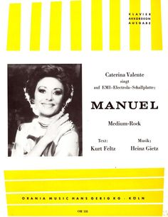 CATERINA VALENTE - MANUEL - MEDIUM ROCK - 1978 - ORIG. MUSIKNOTE KLAVIER AKKORD.