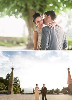 outdoor Portugal garden wedding portraits
