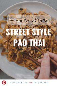 20 Minute Street Style Pad Thai - The Best Thai Recipes Thai Cooking, Asian Cooking, Cooking Recipes, Thai Dishes, Asian Recipes, Pad Thai Recipes, Tamarind Recipes, Rice Noodle Recipes, Tamarind Sauce