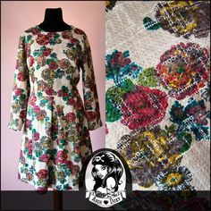 Vintage 1960s Printed Antique Rose Sweet MOD Scooter Twiggy Shift Dress Size 16