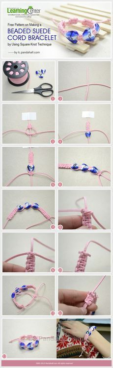 Jewelry Making Tutorial-DIY Beaded Suede Cord Bracelet with Square Knot Technique | PandaHall Beads Jewelry Blog