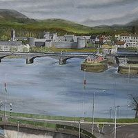 Limerick City. Ireland  Painted April 2013   Oil On Canvas 70 X 50 cm   Limerick city is a living history, in this view alone you have King Johns Castle built around 1200, with Sarsfield Bridge, which was opened as Wellesley Bridge on 5 August 1835 and the Shannon Rowing Club which was completed in 1905 at a cost of £2,000, and right up to the modern buildings, houses and apartments.