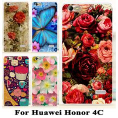 Soft TPU Hard plastic Flower Phone Cases For Huawei Honor 4C C8818 5.0 inch Honor5 Huawei G Play Mini Honor4C Phone Cases Covers