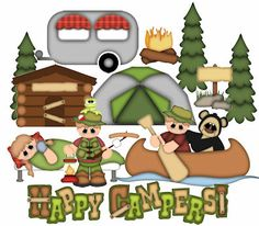 Happy Campers Collection  SVG,WPC,GSD,DXF,AI and JPEG for hand cutting