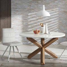 Tavolo da pranzo tondo in legno Lola, piano bianco