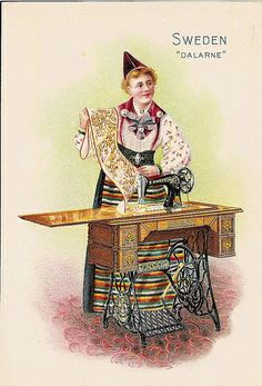 ♥Singer Sewing Machine trade card -- Sweden -- c. 1900