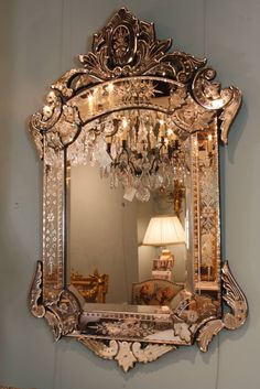 For Sale on - A beautifully-detailed Venetian mirror in the Rococo style with bevelled glass, detailed cartouche, 'C' scrolls, acanthus leaves, etched floral designs Royal Furniture, Dream Furniture, Furniture Decor, Unique Furniture, Furniture Design, Interior Exterior, Home Interior Design, Interior Decorating, Elegant Home Decor